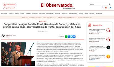 El Observatodo.cl - Cooperativa de Agua Potable Rural, San José de Cunaco, celebra en grande sus 50 años, con Tecnología de Punta, para Gestión del Agua