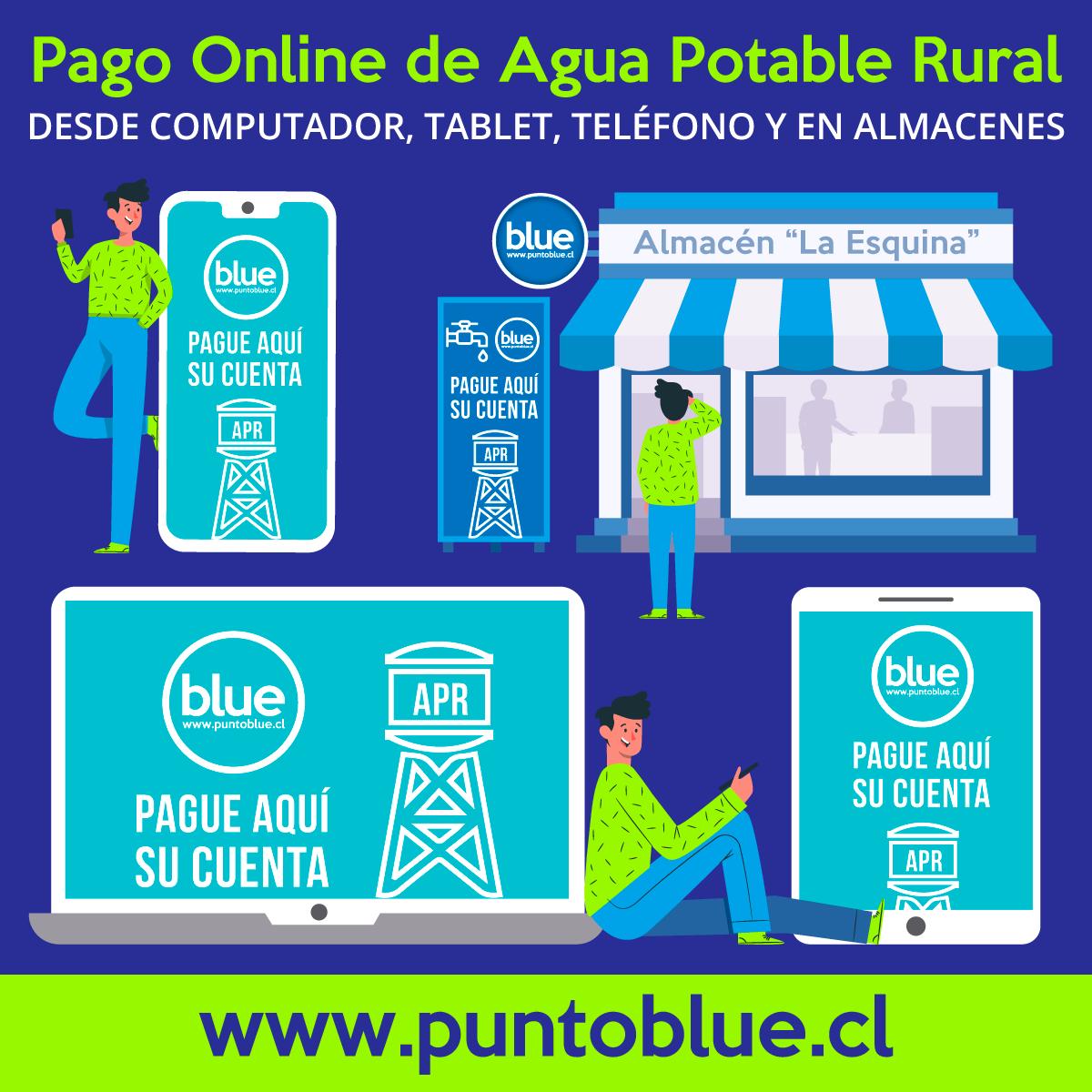 ``Punto Blue`` Plataforma de Pago, de Cuentas de Agua Potable Rural, ONLINE y en Almacenes locales.