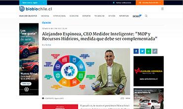 """BíoBío Chile: """"MOP y Recursos Hídricos: Una medida que debe ser complementada"""" > Alejandro Espinoza, CEO Medidor Inteligente - Soluciones Tecnológicas para el Mundo Rural"""