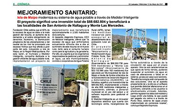 """Diario """"El Labrador"""": Isla de Maipo moderniza su sistema de Agua Potable, a través de Medidor Inteligente"""